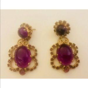 Vintage Jewelry - Vintage Earrings Purple Color Gold Tone pierced